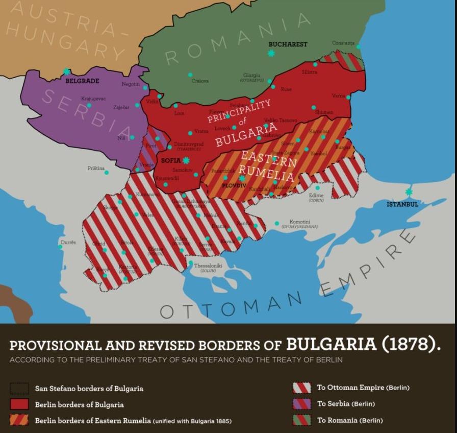 Verdeling van de Balkan na het Vrede van San Stefano en na het Congres van Berlijn