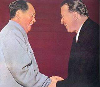 Mao Zedong en Enver Hoxha in 1956