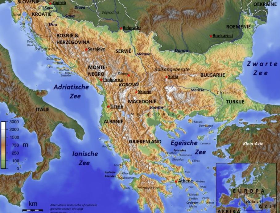 Definitie van het Balkanschiereiland waarbij de rivieren Soča, Krka, Sava en Donau de grenzen van het gebied vormen