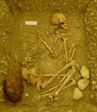 Een hurkgraf met grafgift uit de klokbekercultuur in het archeologisch museum in Königsbrunn