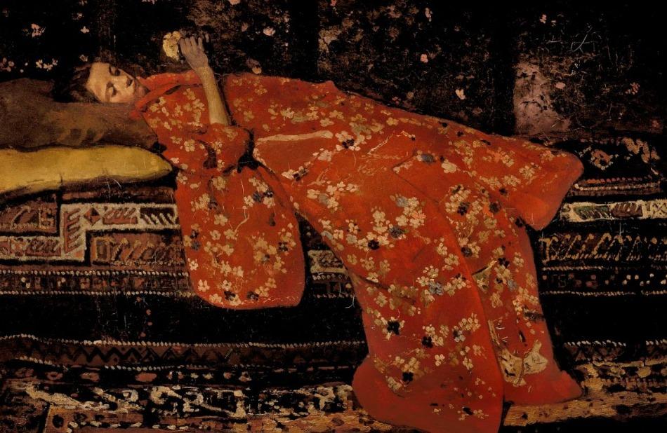 Meisje in rode kimono, liggend (Geesje Kwak) - Schilderij van George Hendrik Breitner