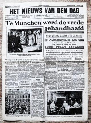 'Verdrag van München' vermeld op de voorpagina Vlaams dagblad Het Nieuws Van Den Dag, 1 oktober 1938