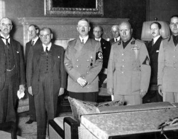 Verdrag van München - Chamberlain, Daladier, Hitler, Mussolini en graaf Ciano