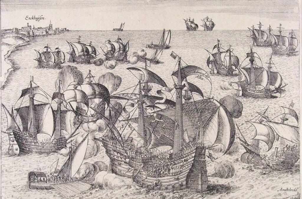 Slag op de Zuiderzee - Gravure van Frans Hogenberg