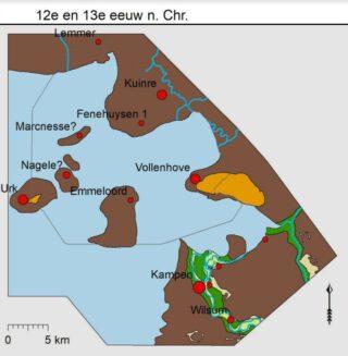 Illustratie Onderzoeksgebied: de reconstructie van het Noordoostpoldergebied omstreeks de 12e en 13e eeuw n. Chr.