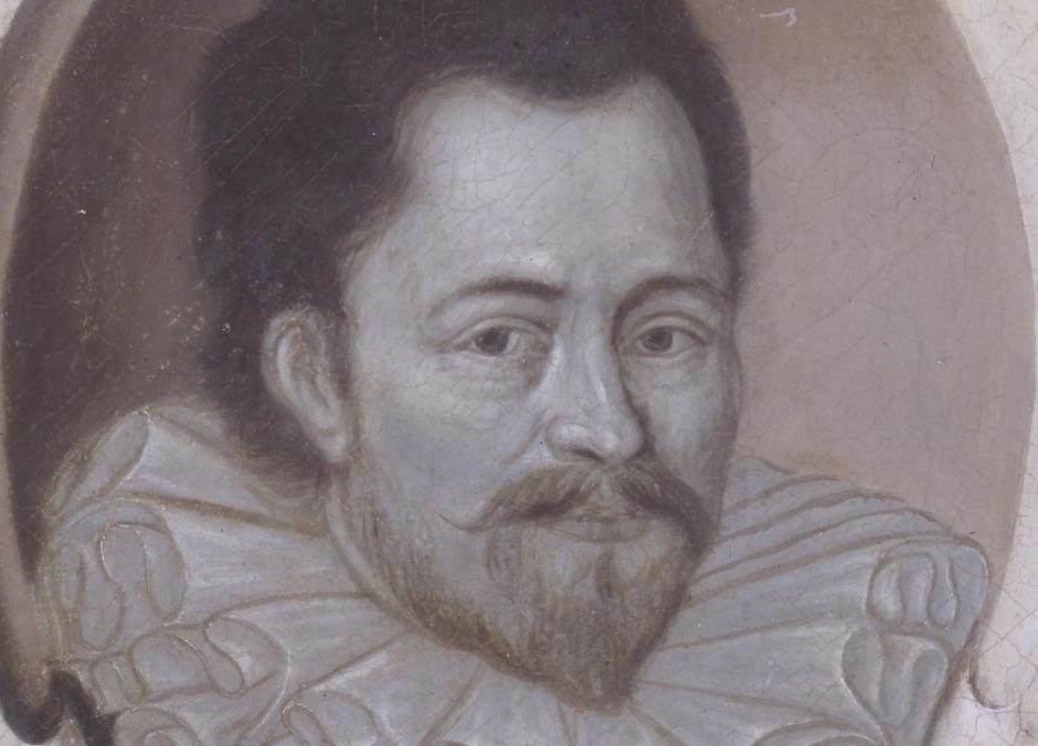 Detail van een portret van Simon Stevin