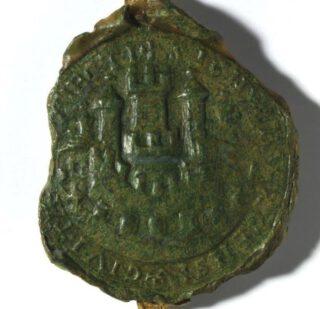 Oudste zegel van de stad Utrecht (circa 1200) met een symbolische weergave van de stadsverdediging