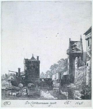 De Wittevrouwenpoort in Utrecht in 1646 afgebeeld door Herman Saftleven