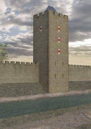Reconstructie vierkante tufsteen muur met toren,  12de eeuw
