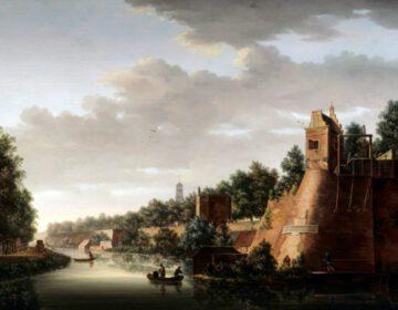 Gezicht op de stadswal van Utrecht met rechts het bastion Zonnenburg, 1758 - Pieter Jan van Liender