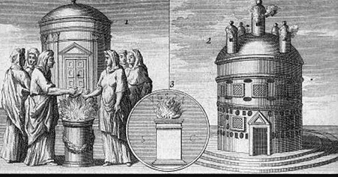 Lafitau vergelijkt de Romeinse en een Indiaanse vuurcultus