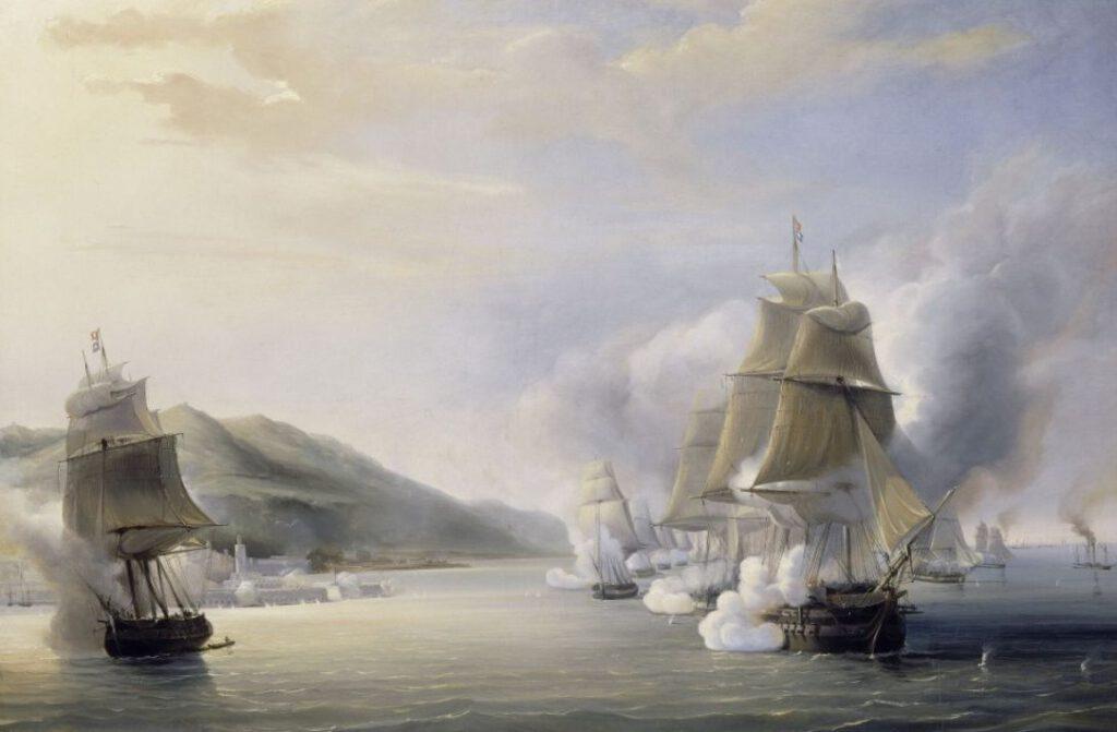 Beschieting van Algiers - Schilderij van Antoine Léon Morel-Fatio