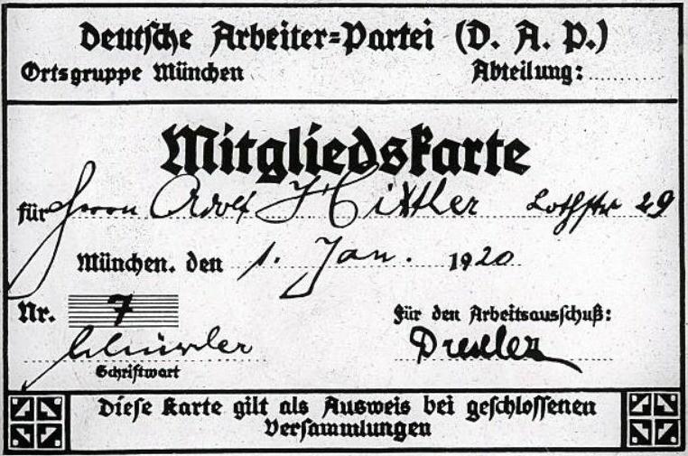Hitlers lidmaatschapskaart van de DAP. Op deze geretoucheerde foto heeft Hitler lidmaatschapsnummer 7, in werkelijkheid was dit 555.