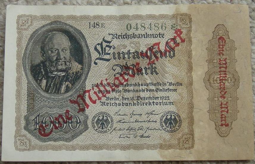 Biljet van 1 miljard Reichsmark uit 1923