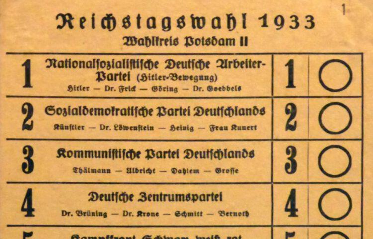 Detail van het stemformulier voor de Duitse Rijksdagverkiezingen van 1933