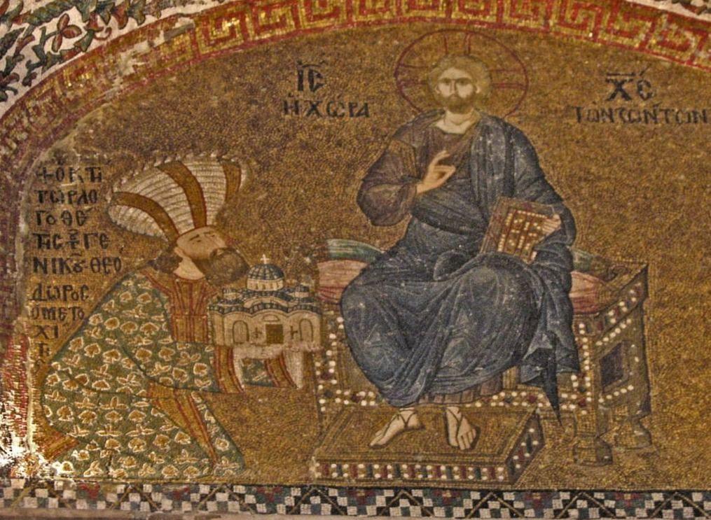 Theodoros Metochites (1270 – 1332), polyhistor en staatsman. Mozaïek uit de Chorakerk, Istanbul. Hij presenteert hier aan Jezus Christus een model van de Chorakerk waarvan hij de renovatie bekostigde.