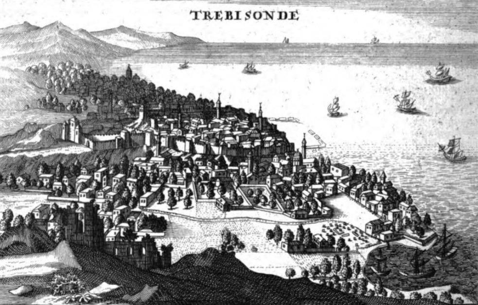 Trebizond onder Ottomaans bewind. De haven was vóór de Turkse verovering (1461) de welvarende hoofdstad van het Grieks-orthodoxe rijk van Trebizond alsook van de Byzantijnse astronomie en wiskunde. Gravure van Joseph de Tournefort, 1718.