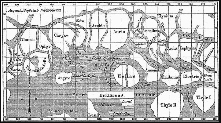 Kaart van deel van Mars volgens Schiaparelli