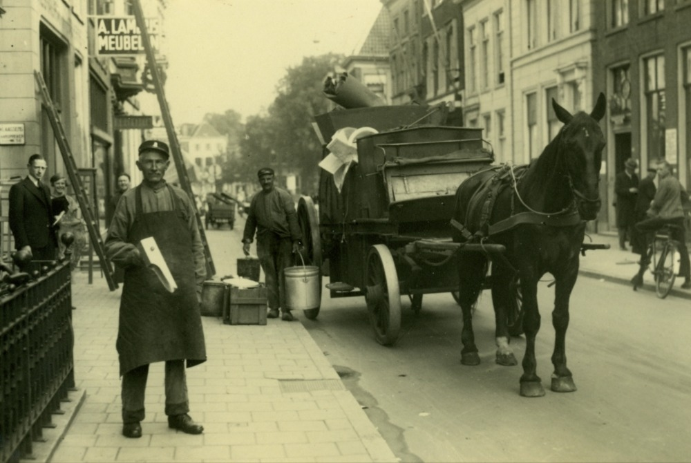 Ophalen huisvuil, Oude Boteringestraat, 1941