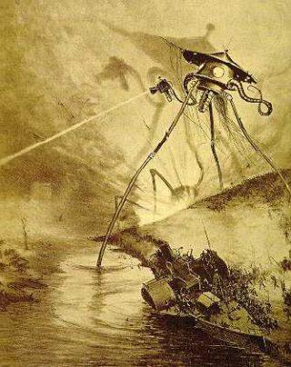 Een driepoot op een afbeelding uit The War of the Worlds