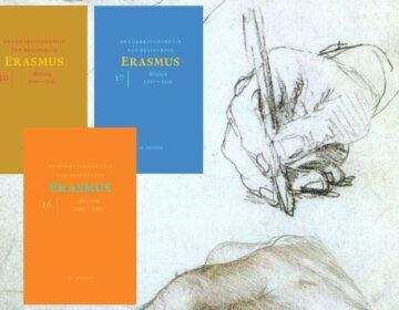 Tekening van Eramsus' handen door Hans Holbein, met enkele delen uit de reeks 'Correspondentie van Desiderius Erasmus'