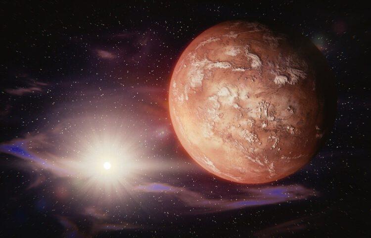 Bewerkte foto van de planeet Mars