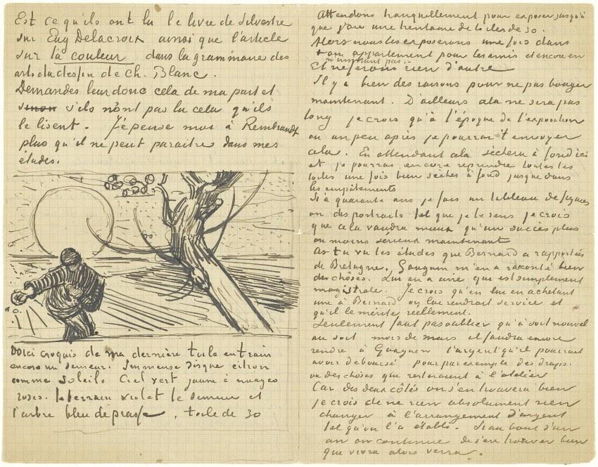 Vincent van Gogh, Brief van Vincent van Gogh aan Theo van Gogh met schets van Zaaier met ondergaande zon (verso), Arles, c. 21 november 1888, pen in inkt op papier, 21 x 27 cm, Van Gogh Museum, Amsterdam (Vincent van Gogh Stichting) Brief nummer 722.