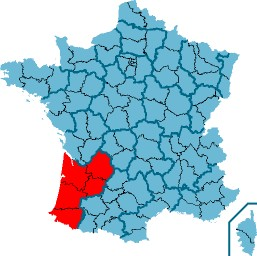 Ligging van Aquitanië in Frankrijk
