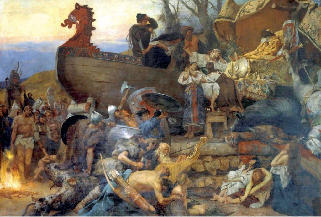 Begrafenis van een vorst of edele van de Roes. Schilderij van Henryk Siemiradzki, geïnspireerd door de reisbeschrijving van Ibn Fadlan. (1884); afb. uit Vikingen.