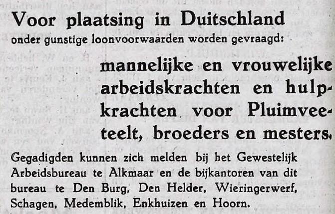 Advertentie in de Schager Courant van 1941