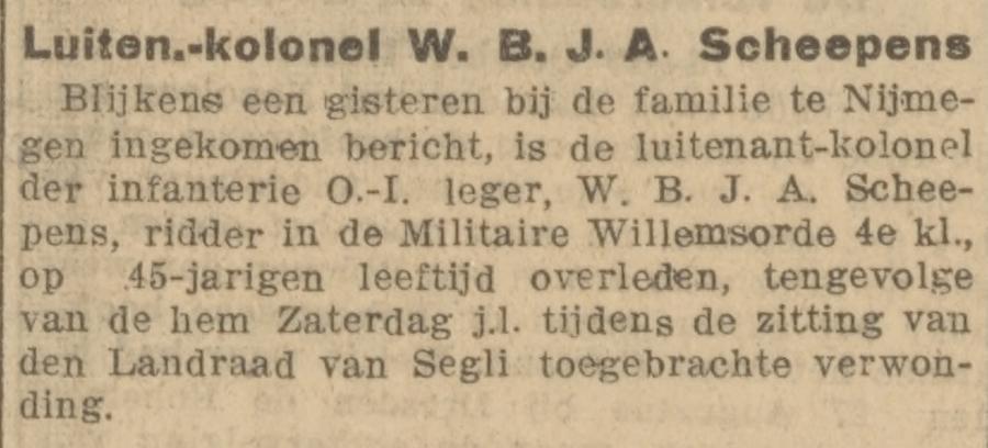 Krantenbericht over de dood van W. B. J. A. Scheepens - De courant, 18-10-1913
