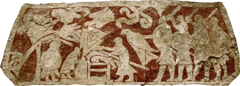 Mensenoffer, waarschijnlijk met het ritueel van de 'bloedarend'. Beeldsteen van Stora Hammar, Gotland; afb. uit Vikingen.