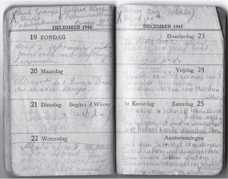 In haar agenda schrijft Ruth Wiener tussen 1943 en 1945 allerlei dingen op. Op 20 december 1944 noteert zij: 'Margot en Anne Frank in ander kamp'. (De agenda is van 1943, maar Ruth Wiener gebruikte hem ook voor dagboekaantekeningen in 1944 en 1945.) Bron: The Wiener Holocaust Library. Uit: Na het Achterhuis