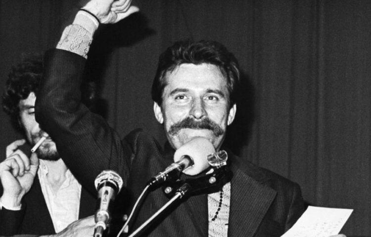 Lech Walesa tijdens een staking in 1980