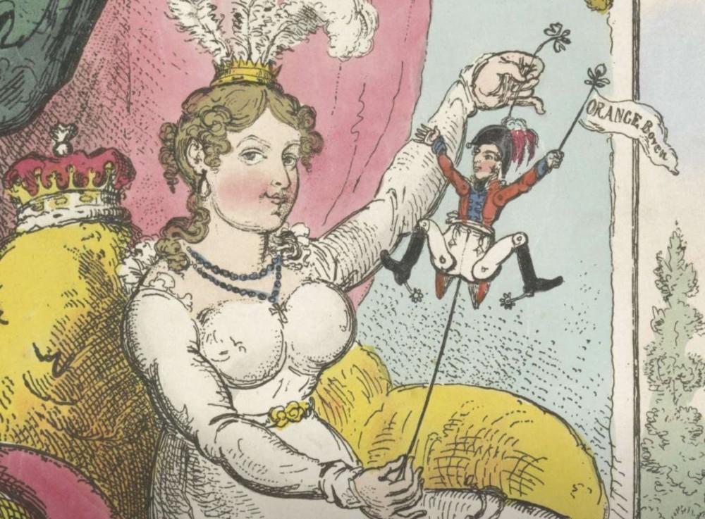 De prins van Oranje als speeltje voor prinses Charlotte, 1814, George Cruikshank, 1814