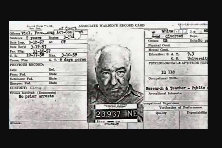 Wilhelm Reichs registratiekaart van de Lewisburg Federal Penitentiary