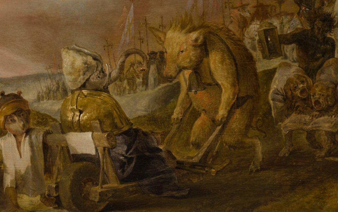 Detail van het schilderij van Cornelis Saftleven