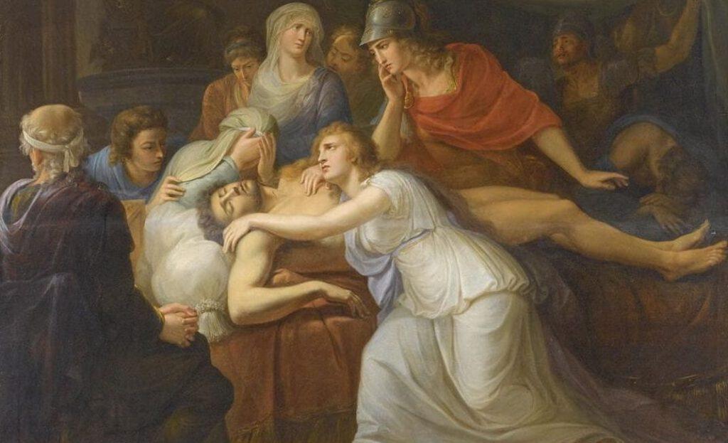 Andromache rouwt om Hektor. Door Heinrich Füger (1751-1818)