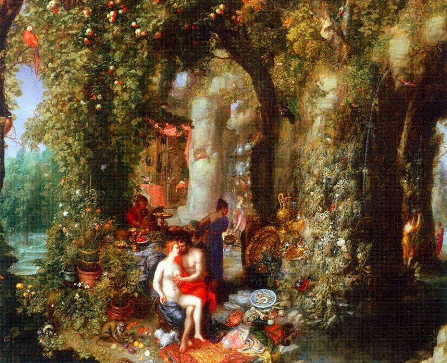 Odysseus en Kalypso in een wondermooie grot. Door Jan Brueghel de Oude, olie op doek (1616)