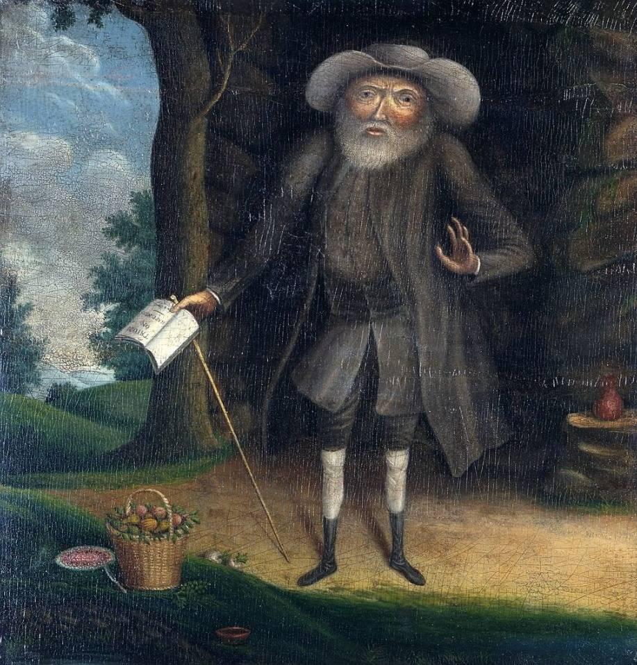 Benjamin Lay voor zijn grot - Schilderij van William Williams, 1790