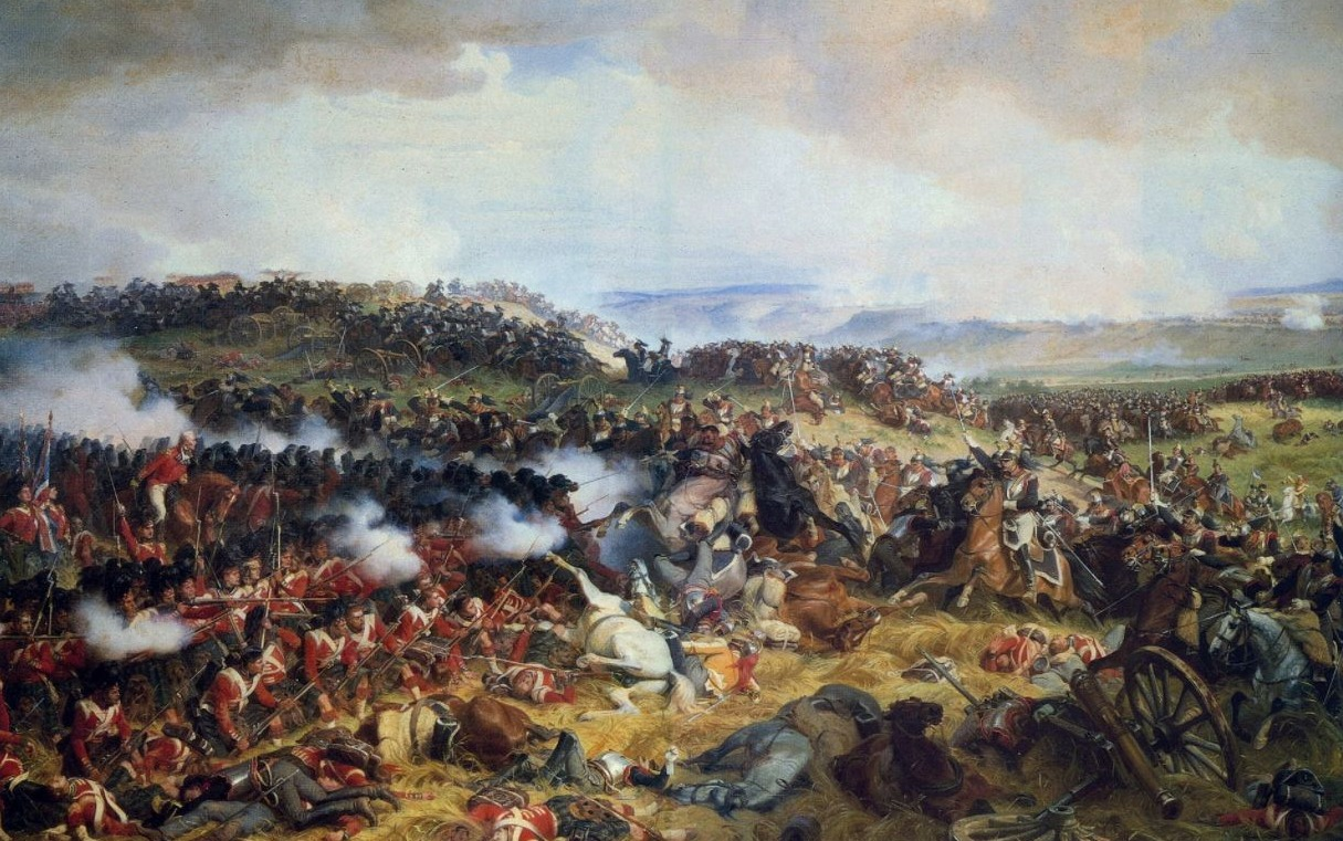 Slag bij Waterloo - Een Brits carré slaat de Franse cavalerie af - Henri Félix Emmanuel Philippoteaux