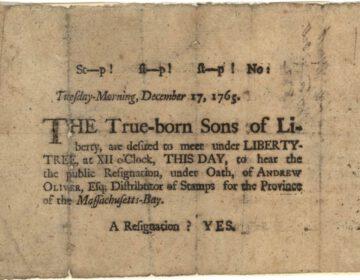Document uit 1765 waarop de Sons of Liberty worden vermeld
