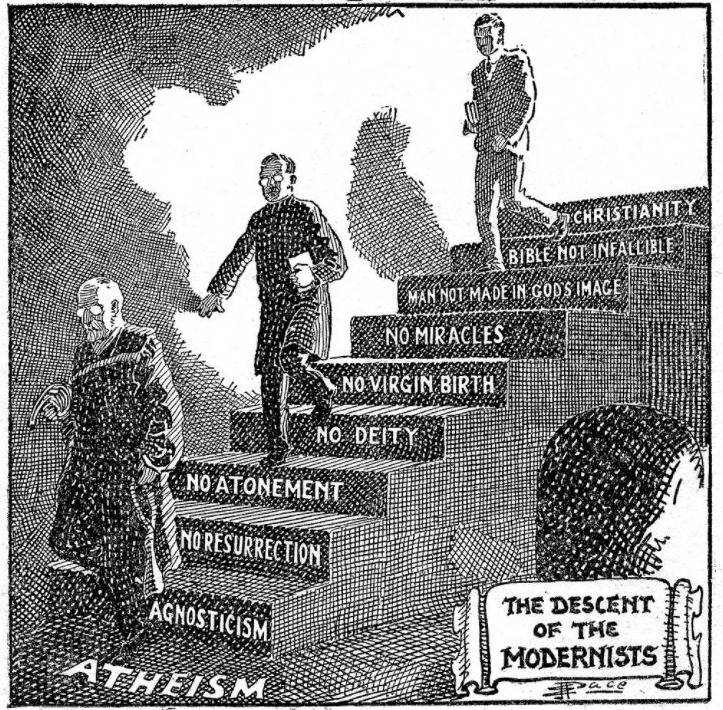 """Afbeelding van E. J. Pace getiteld """"The Descent of the Modernists"""", 1924"""