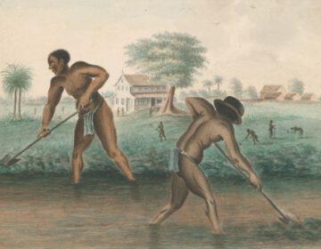 Anoniem, Tot slaaf gemaakte mannen graven trenzen, ca. 1850