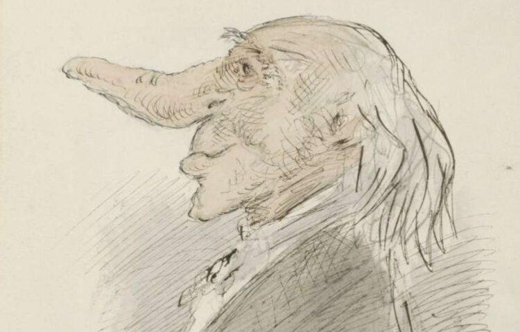 Karikaturale kop van een oude man met een lange neus, Alexander Ver Huell, ca. 1854 - ca. 1887