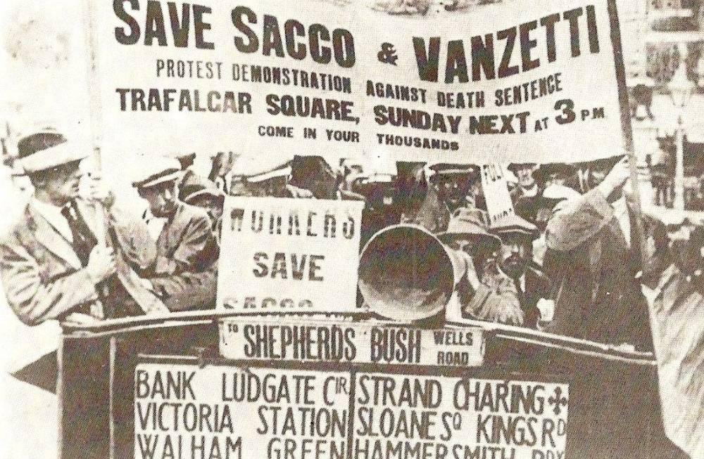 Demonstratie in Londen tegen de doodstraf voor Sacco and Vanzetti, 1921