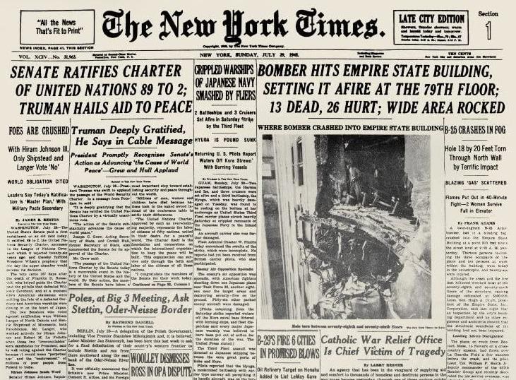 Willekeurige editie van The New York Times uit juli 1945