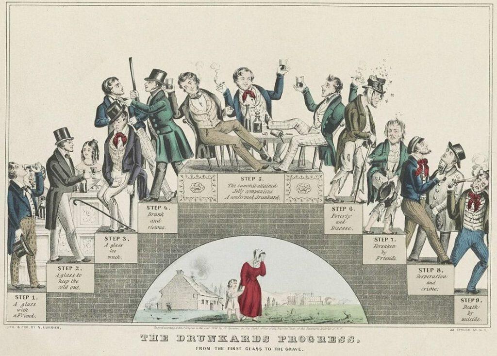 De ontwikkeling van de dronkaard, uiteindelijk uitmondend in zelfmoord...  Waarschuwende tekening van Nathaniel Currier, getiteld 'The Drunkard's Progress' (1846)