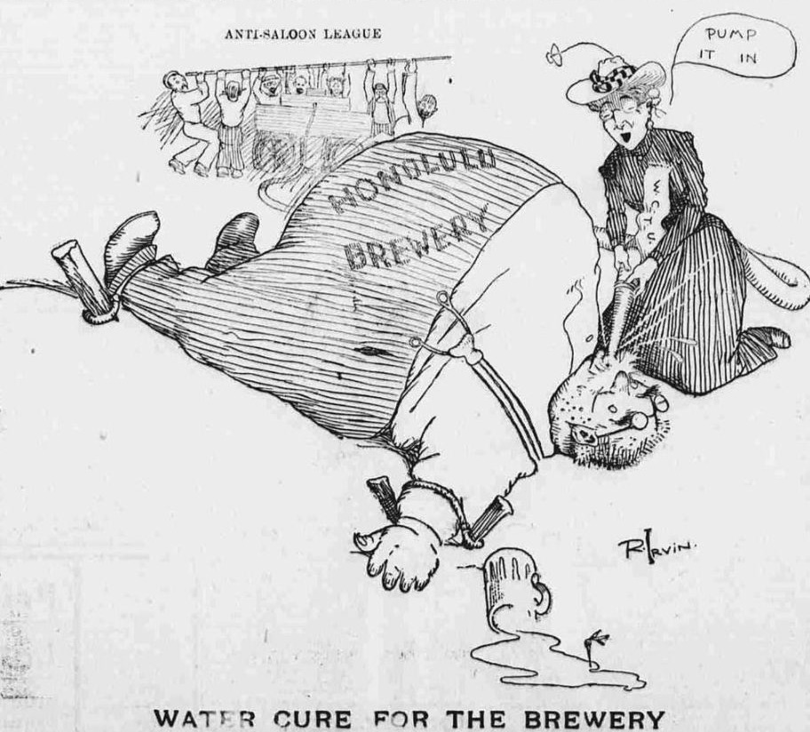 Cartoon in de Hawaiian Gazette waarin het werk van de Anti-Saloon League en de Woman's Christian Temperance Union op de hak wordt genomen, 1902