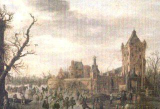 Kasteel Batestein op een schilderij van Jan van Goyen (ca. 1630)